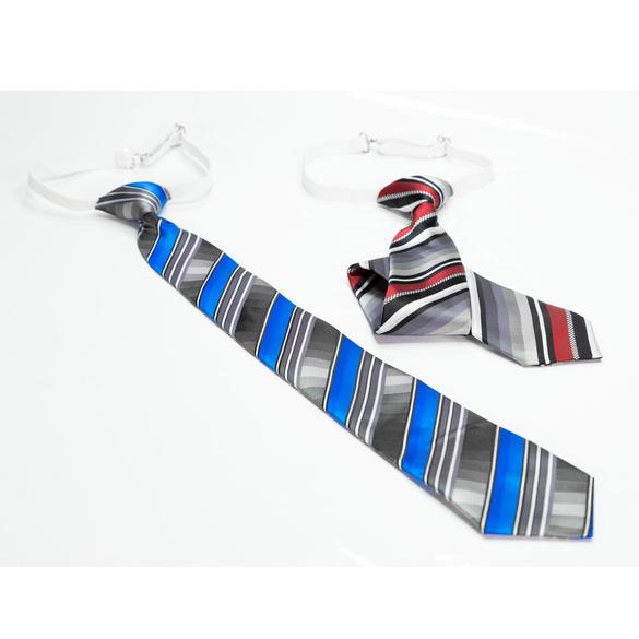 Krawatten gebunden, braun-grau + blau-grau, 2er-Set