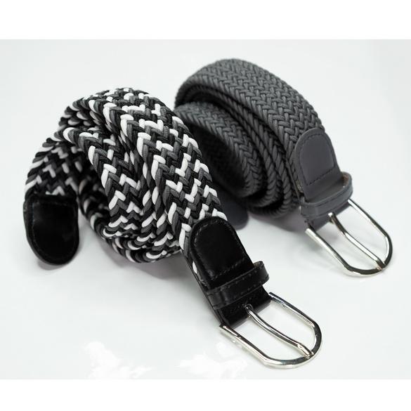Herrengürtel elastisch grau-schwarz-weiß + uni grau