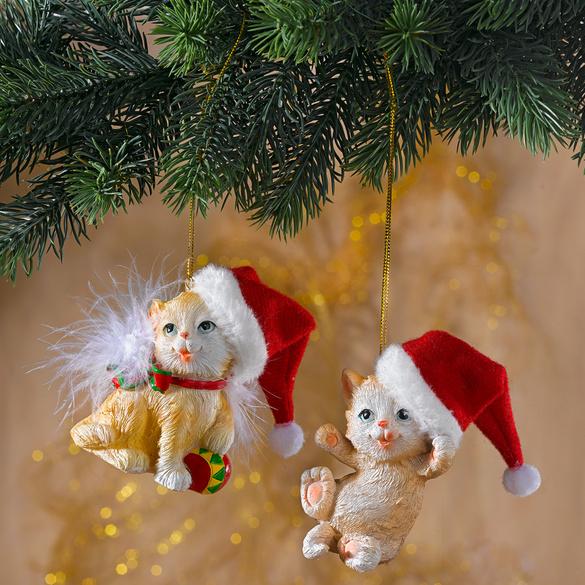 Weihnachtskätzechen-Hänger, 2er-Set