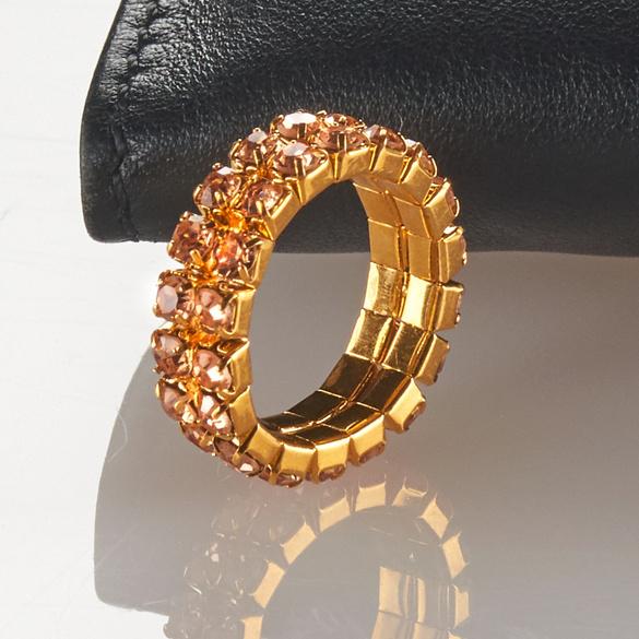 Strass-Ring elastisch gold/bernsteinfarben