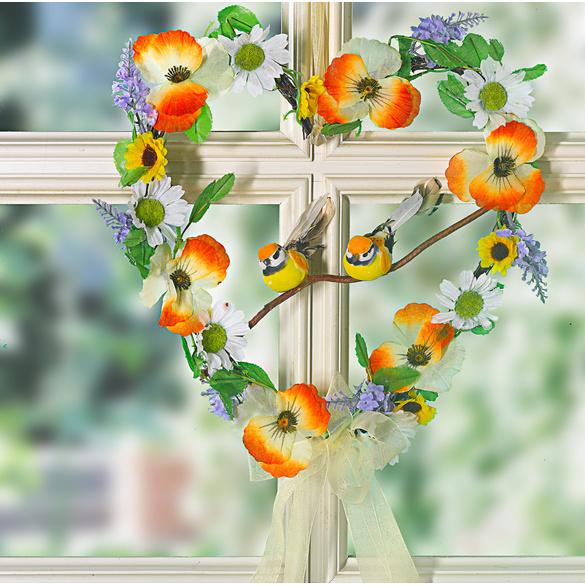 Blumenherz mit Vögelchen