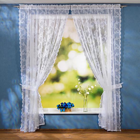 Spitzenvorhang, 2er-Set mit raffhaltern, 140 x 230 cm