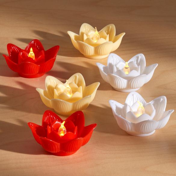 """LED-Teelicht """"Lotusblüte"""" rot"""