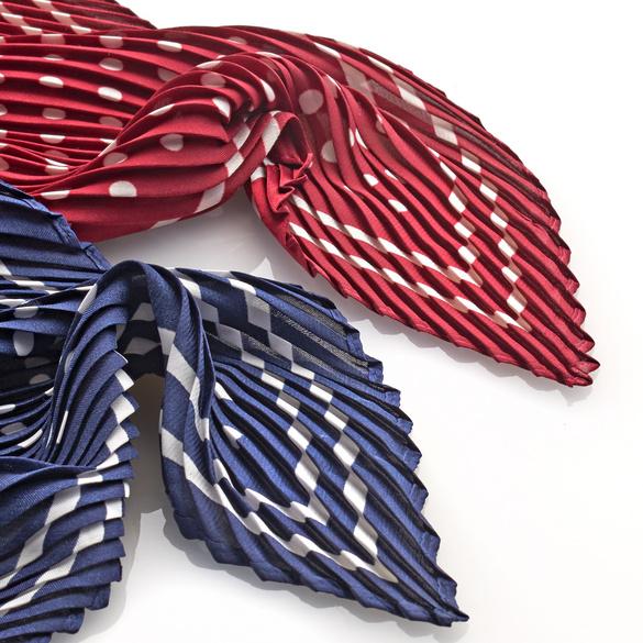 Plissee-Schal rot-weiß