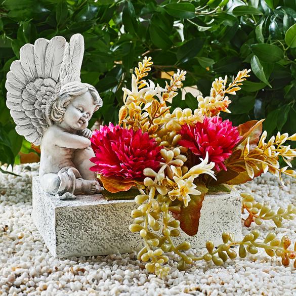 Pflanztopf mit Engel und Blumen