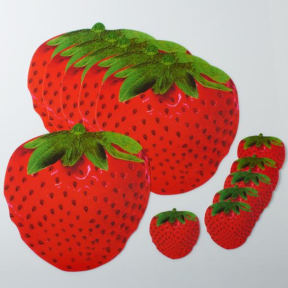"""6 Platzsets + 6 Untersetzer """"Erdbeere"""" Basilico"""
