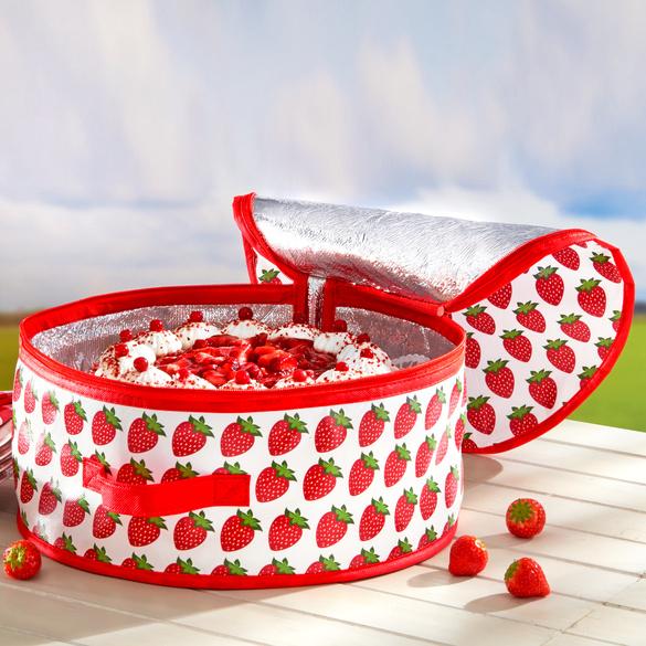 """Torten-Kühltasche """"Erdbeeren"""" rot-weiß"""