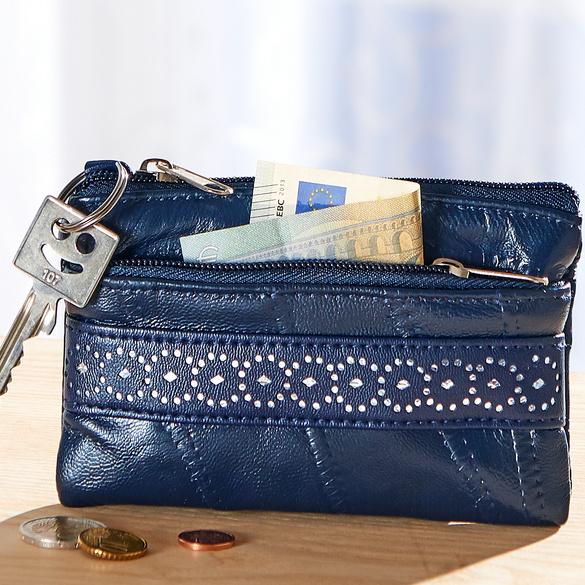Patchwork-Schlüsseletui blau