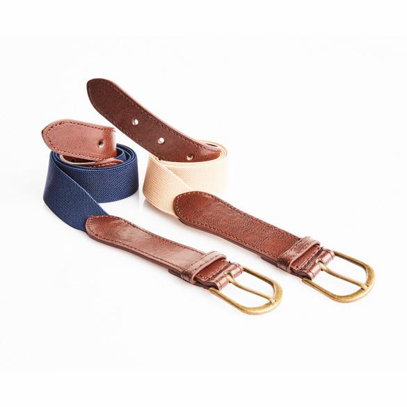 Herrengürtel elastisch beige/blau