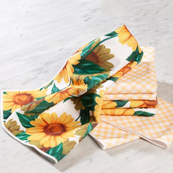"Geschirrtücher ""Sonnenblumen + Karo"""
