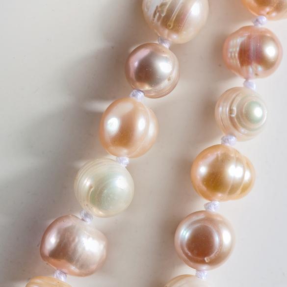 Perlenkette rosé/weiß 130 cm