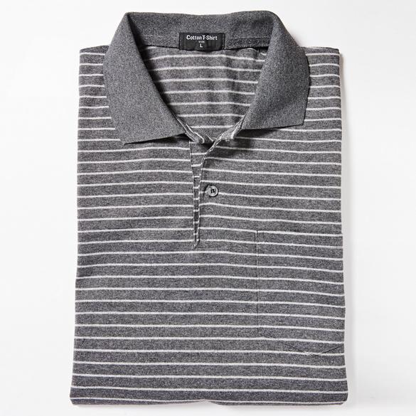 Poloshirt grau-gestreift