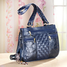 Handtasche mit Flechtung dunkelblau