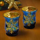Teelichtglas blau/gold