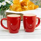 "Kaffeetasse ""Tupfen"" rot-weiß"