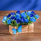 Holzkasten mit blauen Rosen