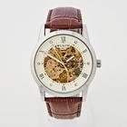 Herren-Armbanduhr silber-braun