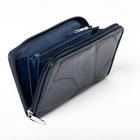 Patchwork-Lederbörse blau